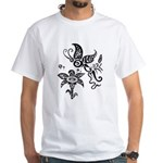 Black and White Tribal Butterfly White T-Shirt
