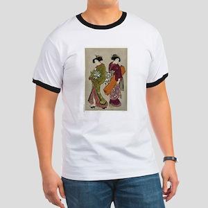 Geisha and a servant carrying her koto - Shigemasa