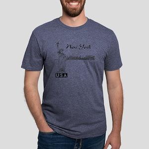NY_12x12_Skyline_Statue_Bla Mens Tri-blend T-Shirt