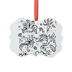 Black and white tribal swirls Ornament