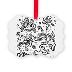 Black and white tribal swirls Picture Ornament