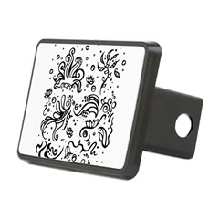Black and white tribal swirls Hitch Cover