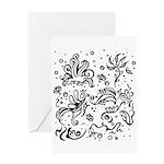Black and white tribal swirls Greeting Card