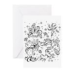 Black and white tribal swirls Greeting Cards (Pk o