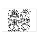 Black and white tribal swirls Postcards (Package o