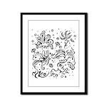 Black and white tribal swirls Framed Panel Print