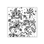 Black and white tribal swirls Square Sticker 3