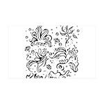 Black and white tribal swirls 35x21 Wall Decal