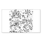 Black and white tribal swirls Sticker (Rectangle 1