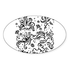 Black and white tribal swirls Sticker (Oval 10 pk)