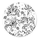 Black and white tribal swirls Round Car Magnet