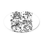 Black and white tribal swirls Oval Car Magnet