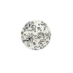 Black and white tribal swirls Mini Button (100 pac