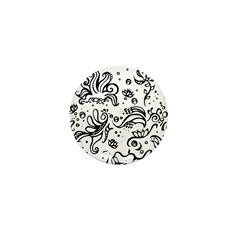 Black and white tribal swirls Mini Button