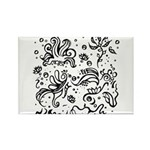 Black and white tribal swirls Rectangle Magnet (10