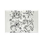Black and white tribal swirls Rectangle Magnet