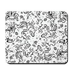Black and white tribal swirls Mousepad