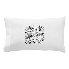 Black and white tribal swirls Pillow Case