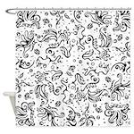 Black and white tribal swirls Shower Curtain