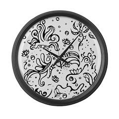 Black and white tribal swirls Large Wall Clock