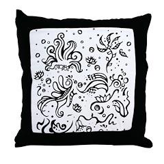 Black and white tribal swirls Throw Pillow