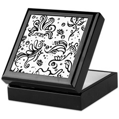 Black and white tribal swirls Keepsake Box