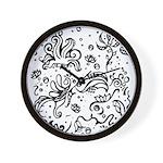 Black and white tribal swirls Wall Clock