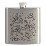 Black and white tribal swirls Flask