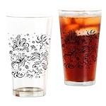Black and white tribal swirls Drinking Glass