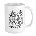 Black and white tribal swirls Large Mug