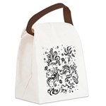 Black and white tribal swirls Canvas Lunch Bag