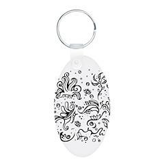 Black and white tribal swirls Keychains