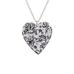 Black and white tribal swirls Necklace