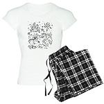 Black and white tribal swirls Women's Light Pajama