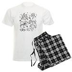 Black and white tribal swirls Men's Light Pajamas