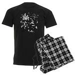 Black and white tribal swirls Men's Dark Pajamas