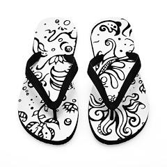 Black and white tribal swirls Flip Flops