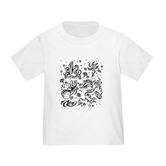 Black and white tribal swirls T