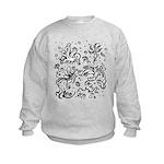 Black and white tribal swirls Kids Sweatshirt