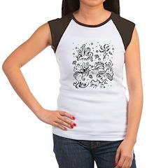Black and white tribal swirls Women's Cap Sleeve T