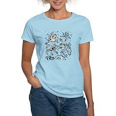 Black and white tribal swirls Women's Light T-Shir