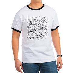 Black and white tribal swirls T