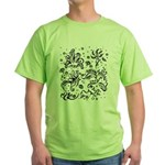 Black and white tribal swirls Green T-Shirt