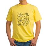 Black and white tribal swirls Yellow T-Shirt