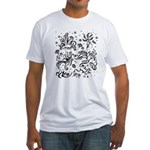 Black and white tribal swirls Fitted T-Shirt