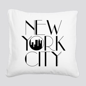 New York Square Canvas Pillow