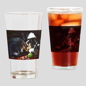 Border Collie Sleeping Drinking Glass