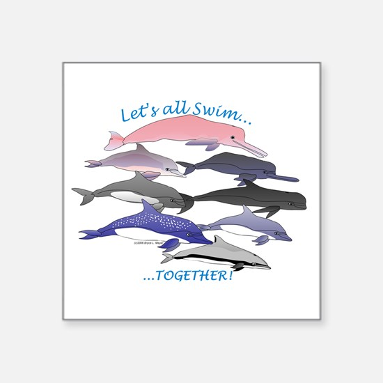 "Dolphins Swim Together Square Sticker 3"" x 3"""