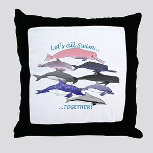 Dolphins Swim Together Throw Pillow