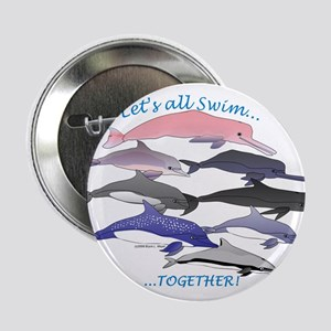 """Dolphins Swim Together 2.25"""" Button"""